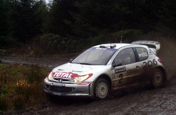 2002 World Rally Championship.Network Q Rally of Great Britain, Cardiff. November 14-17. Marcus Gronholm during shakedown.Photo: Ralph Hardwick/LAT