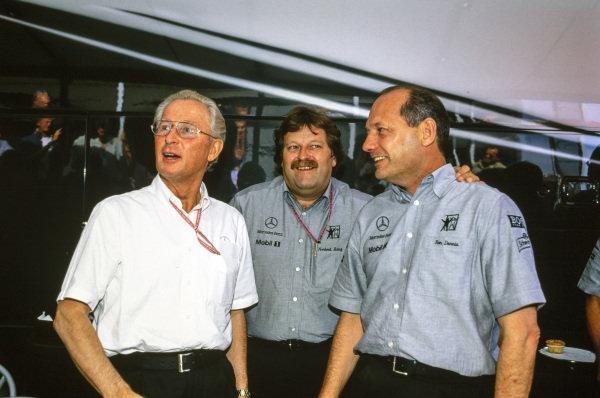 Norbert Haug, Mercedes-Benz, and Ron Dennis, Team Principal, McLaren.