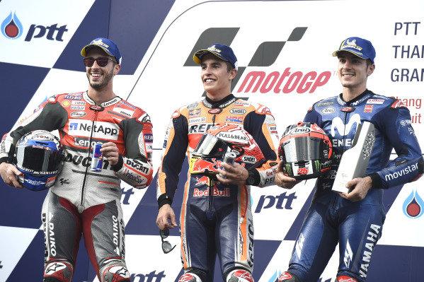 Andrea Dovizioso, Ducati Team, Marc Marquez, Repsol Honda Team, Maverick Viñales, Yamaha Factory Racing.