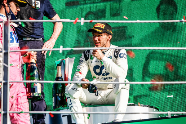 Lance Stroll, Racing Point, 3rd position, and Pierre Gasly, AlphaTauri, 1st position, on the podium
