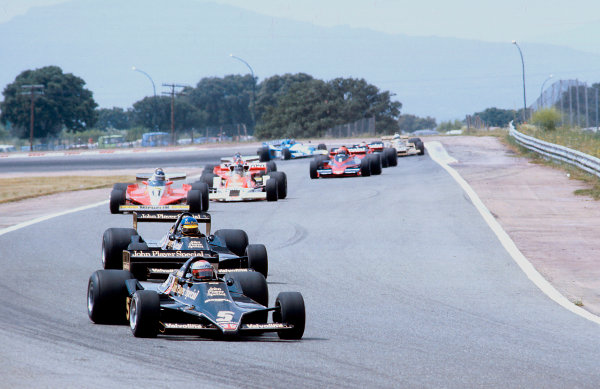 1978 Spanish Grand Prix.Jarama, Madrid, Spain.2-4 June 1978.Mario Andretti leads teammate Ronni Peterson (both Lotus 79 Ford's). They finished in 1st and 2nd positions respectively. Ref-78 ESP 03.World Copyright - LAT Photographic
