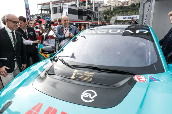 Albert II, Prince of Monaco prepares for a ride in the Jaguar iPACE