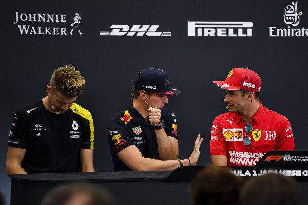 Nico Hulkenberg, Renault F1 Team, Max Verstappen, Red Bull Racing and Charles Leclerc, Ferrari in there Press Conference