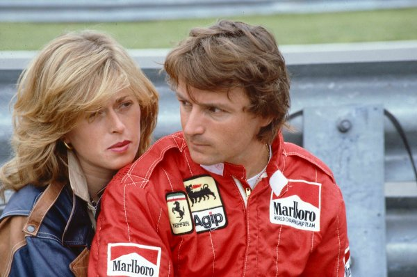 1983 Canadian Grand Prix. Montreal, Quebec, Canada.10-12 June 1983.Rene Arnoux (Ferrari) 1st position with girlfriend Pascale Toucas. Ref-83 CAN 26.World Copyright - LAT Photographic