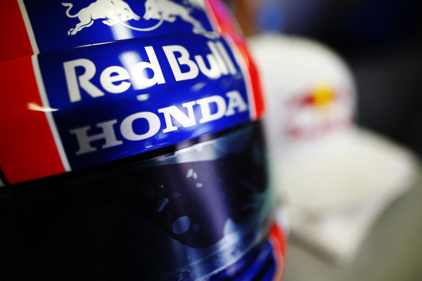 The helmet of Pierre Gasly, Toro Rosso.