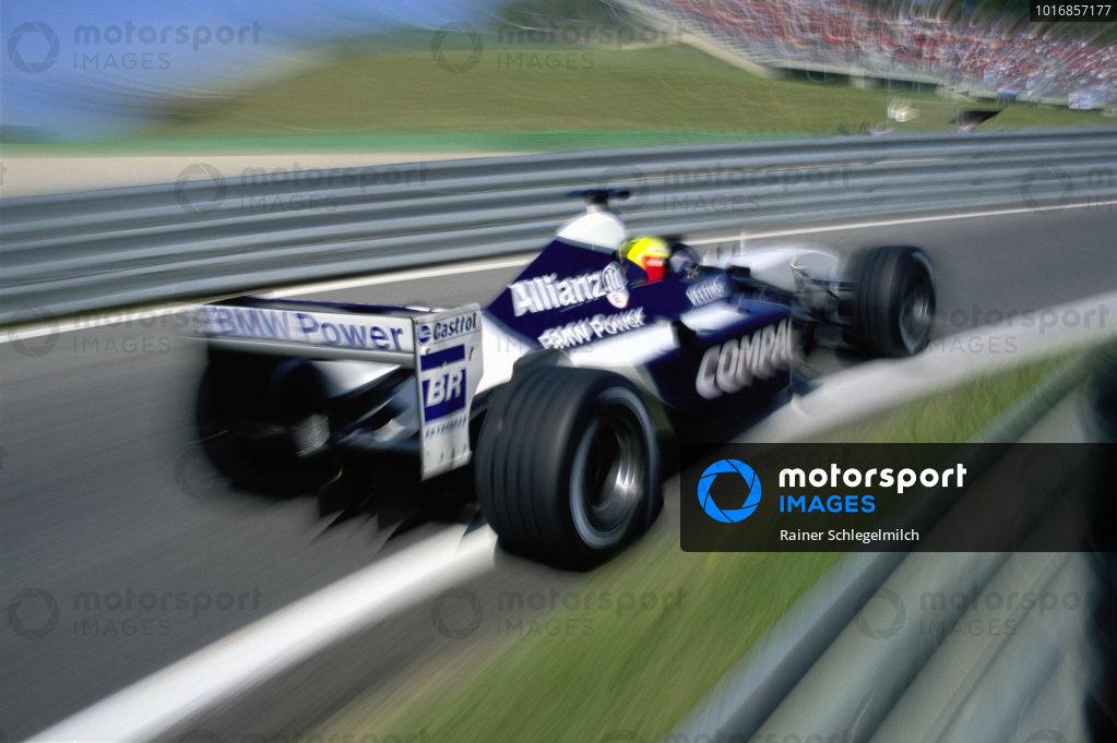 Ralf Schumacher, Williams FW24 BMW, in the pit exit.