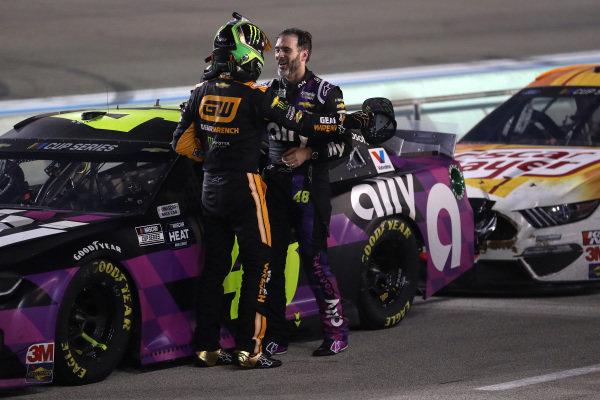 Jimmie Johnson, Hendrick Motorsports Chevrolet Ally, Kurt Busch, Chip Ganassi Racing Chevrolet GEARWRENCH, Copyright: Chris Graythen/Getty Images.