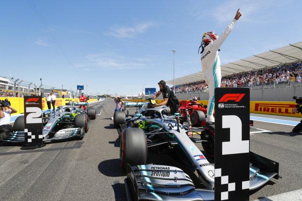 Lewis Hamilton, Mercedes AMG F1 W10, celebrates after taking Pole Position