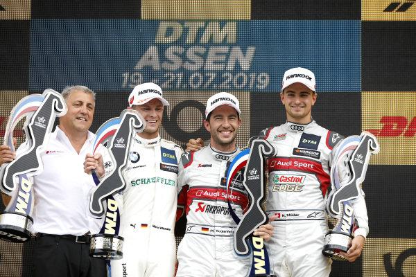 Podium: Race winner Mike Rockenfeller, Audi Sport Team Phoenix, second place Marco Wittmann, BMW Team RMG, third place Nico Müller, Audi Sport Team Abt Sportsline, Ernst Moser, Audi Sport Team Phoenix.