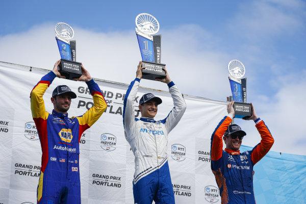 #10: Alex Palou, Chip Ganassi Racing Honda celebrates winning the Grand Prix of Portland, #27: Alexander Rossi, Andretti Autosport Honda, #9: Scott Dixon, Chip Ganassi Racing Honda