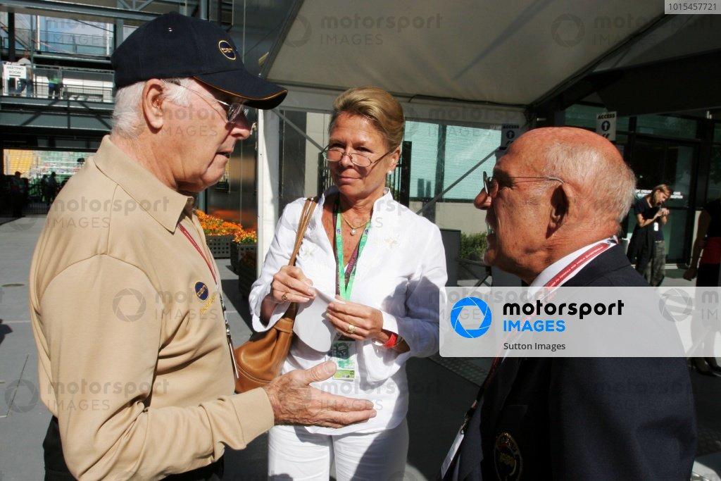 (L to R): Murray Walker (GBR) with Stirling Moss (GBR). Formula One World Championship, Rd 3, Australian Grand Prix, Preparations, Albert Park, Melbourne, Australia, 30 March 2006.  DIGITAL IMAGE
