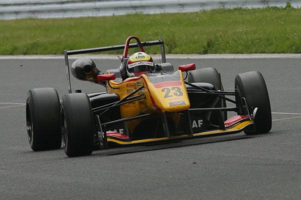 2014 All-Japan F3 Championship. Fuji, Japan. 11th - 13th July 2014. Rd 4. Race 2 - 3rd position Daiki Sasaki ( #23 B-MAX Racing Team with NDDP ) action. World Copyright: Yasushi Ishihara / LAT Photographic. Ref: 2014JF3_Rd8&9_029.JPG