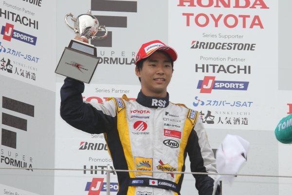 2014 Super Formula Series. Fuji, Japan. 11th - 13th July 2014. Rd 3. 2nd position Ryo Hirakawa ( #7 ACHIEVEMENT Team KYGNUS SUNOCO SF14 ) podium, portrait. World Copyright: Yasushi Ishihara / LAT Photographic. Ref: 2014SF_Rd3_017.JPG