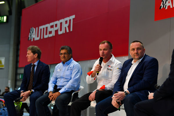 Autosport International Exhibition. National Exhibition Centre, Birmingham, UK. Thursday 11th January 2018. Malcolm Wilson, Michel Nandan, Tommi Makinen and Yves Matton talk to Henry Hope-Frost on the Autosport Stage. World Copyright: Mark Sutton/Sutton Images/LAT Images Ref: DSC_6644