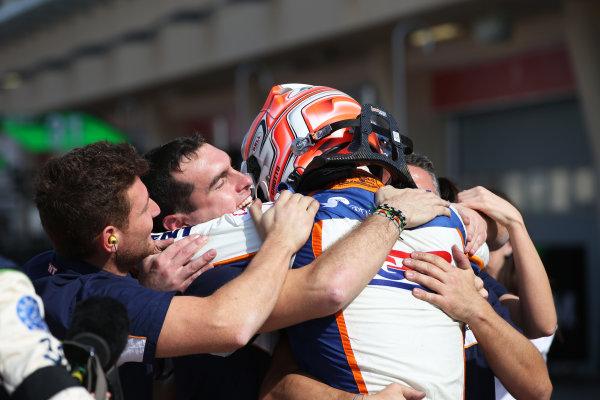 2015 GP3 Series Round 8. Bahrain International Circuit, Bahrain Saturday 21 November 2015. Luca Ghiotto (ITA, Trident), celebrates his win Photo: Jakob Ebrey/GP3 Series Media Service. ref: Digital Image AD8T9948