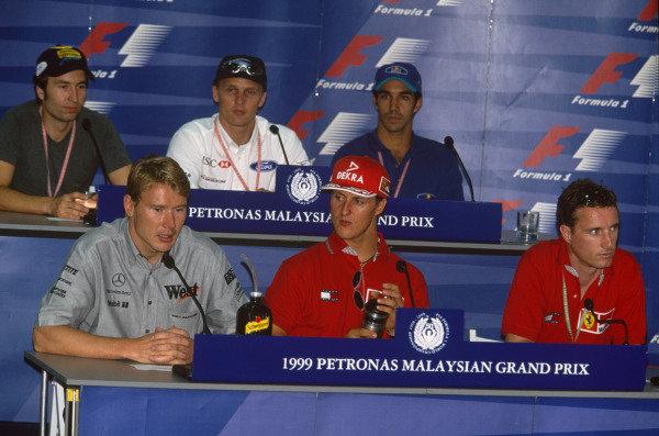 Sepang, Kuala Lumpur, Malaysia. 15-17 October 1999. Press conference. Heinz-Harald Frentzen, Johnny Herbert, Pedro Diniz, Mika Hakkinen,  Michael Schumacher and Eddie Irvine. Ref: 99MAL52. World Copyright - LAT Photographic