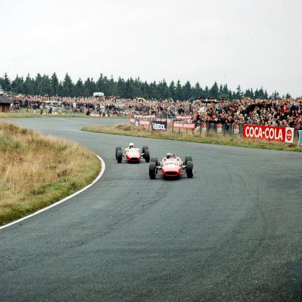 Nurburgring, Germany.5-7 August 1966.Lorenzo Bandini (Ferrari 312) leads Ludovico Scarfiotti (Ferrari 158/246).Ref-3/2331.World Copyright - LAT Photographic