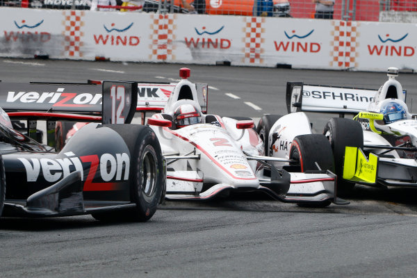 20 July, 2014, Toronto, Ontario, Canada Will Power  Juan Pablo Montoya and Josef Newgarden crash ©2014, Brian Cleary LAT Photo USA
