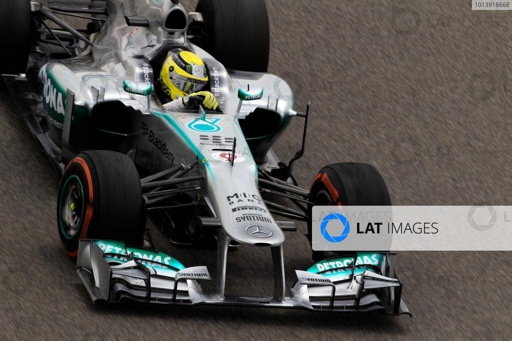 Bahrain International Circuit, Sakhir, Bahrain Friday 19th April 2013 Nico Rosberg, Mercedes W04.  World Copyright: Charles Coates/LAT Photographic ref: Digital Image _X5J2525
