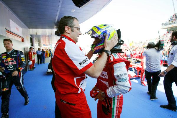 Circuit de Catalunya, Barcelona, Spain 12th May 2013 Stefano Domenicali, Team Principal, Ferrari, congratulates Felipe Massa, Ferrari, 3rd position, on his podium finish. World Copyright: Steven Tee/LAT Photographic ref: Digital Image _14P2659