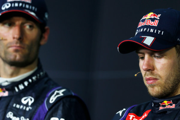 Sepang, Kuala Lumpur, Malaysia Sunday 24th March 2013 Mark Webber, Red Bull Racing, 2nd position, and Sebastian Vettel, Red Bull Racing, 1st position, in the post race Press Conference. World Copyright: Charles Coates/LAT Photographic ref: Digital Image _N7T6425