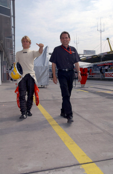 2004 Formula Three EuroseriesNurburgring, Germany. 31st July - 1st August 2004Race 1 winner Nico Rosberg (Team Rosberg), gives the thumbs up.Wold Copyright : Andre Irlmeier / LAT Photographicref: Digital Image Only