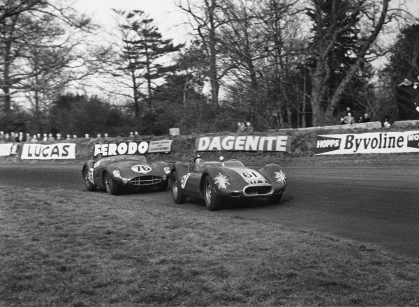 Oulton Park, Cheshire, England. 12th April 1958.Archie Scott-Brown (Lister - Jaguar), DNS leads Stirling Moss(Aston Martin DBR2), DNS in this car, but won the race, action. World Copyright: LAT Photographic.Ref:  7804A - 32A.