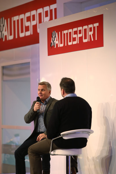 Autosport International Exhibition. National Exhibition Centre, Birmingham, UK. Saturday 14 January 2017. Johnny Herbert is interviewed by Henry Hope-Frost on the Autosport Stage. World Copyright: James Roberts/Ebrey/LAT Photographic. Ref: AR3_7766