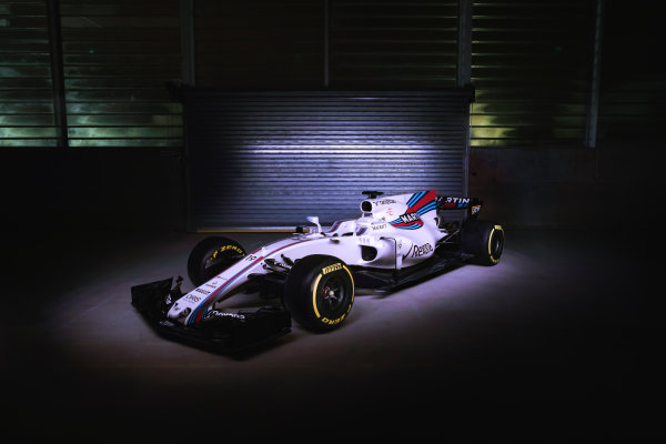 Williams Martini Racing FW40 Mercedes Launch. Grove, Oxfordshire, United Kingdom. February, 2017. The Williams FW40 Mercedes pre-test photo shoot. Photo: Drew Gibson/Williams Ref: FW40 angle - 19