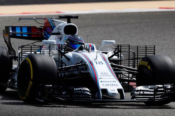 Bahrain International Circuit, Sakhir, Bahrain.  Tuesday 18 April 2017. Lance Stroll, Williams FW40 Mercedes. World Copyright: Glenn Dunbar/LAT Images ref: Digital Image _X4I2103