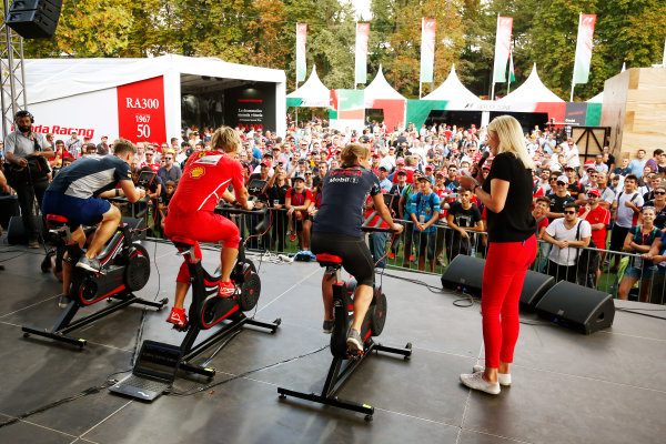 Autodromo Nazionale di Monza, Italy. Friday 01 September 2017. Fitness challenge on the F1 Fanzone stage. World Copyright: Andy Hone/LAT Images  ref: Digital Image _ONZ1807