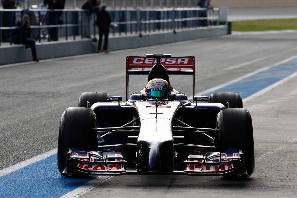 2014 F1 Pre Season Test 1 - Preview Circuito de Jerez, Jerez, Spain. Tuesday 28 January 2014. Jean-Eric Vergne, Toro Rosso STR9 Renault, returns to the pits. World Copyright: Andrew Ferraro/LAT Photographic. ref: Digital Image _Q0C0540