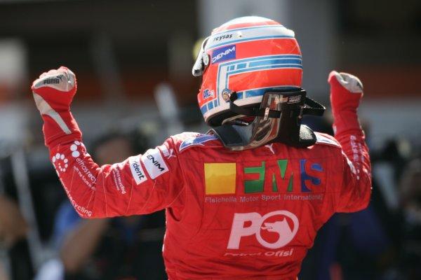 2007 GP2 Series Round 5. Silverstone, England. 8th July 2007. Sunday Race.Adam Carroll (GBR, Petrol Ofisi FMS International) celebrates victory. World Copyright: Andrew Ferraro/GP2 Series Media Service.  ref: Digital Image _F6E6860