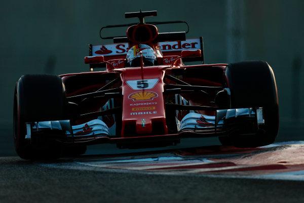 Yas Marina Circuit, Abu Dhabi, United Arab Emirates. Wednesday 29 November 2017. Sebastian Vettel, Ferrari SF70H.  World Copyright: Zak Mauger/LAT Images  ref: Digital Image _56I6930