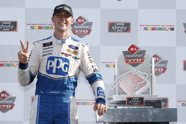 #22: Austin Cindric, Team Penske, Ford Mustang PPG celebrates in victory lane