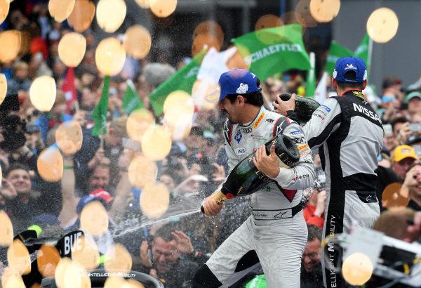 Lucas Di Grassi (BRA), Audi Sport ABT Schaeffler, 1st position, celebrates on the podium with Sébastien Buemi (CHE), Nissan e.Dams, 2nd position