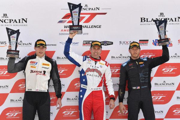 #50 Panoz Avezzano GT4 of Ian James  #10 McLaren 570S GT4 of Michael Cooper  #66 Porsche 718 Cayman CS MR of Spencer Pumpelly
