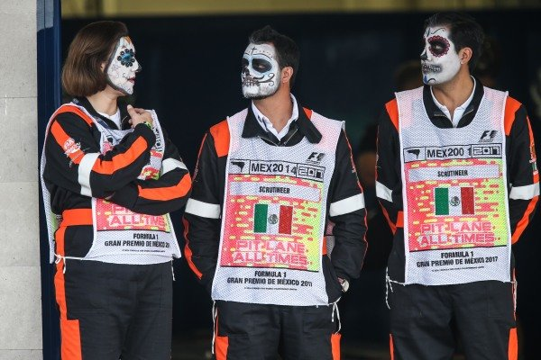 Marshals with facepaint at Formula One World Championship, Rd18, Mexican Grand Prix, Race, Circuit Hermanos Rodriguez, Mexico City, Mexico, Sunday 29 October 2017.
