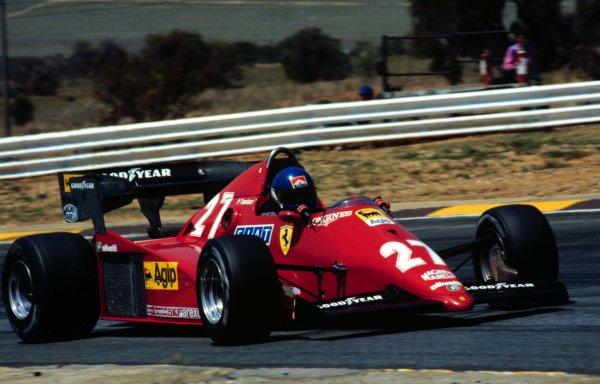 1983 South African Grand Prix.Kyalami, South Africa.13-15 October 1983.Patrick Tambay (Ferrari 126C3) qualifying on pole position. Ref: 83SA03. World Copyright - LAT Photographic