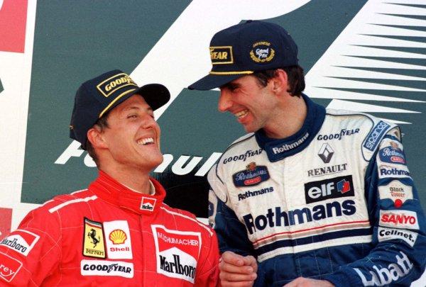1996 Japanese Grand Prix.Suzuka, Japan.11-13 October 1996.Damon Hill (Williams Renault), 1st position clinching the World Championship. Michael Schumacher (Ferrari) finished in 2nd position.World Copyright - LAT Photographicschumacherhistory