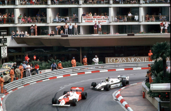 1982 Monaco Grand Prix.Monte Carlo, Monaco.20-23 May 1982.John Watson (McLaren MP4/1B Ford) followed by Derek Daly (Williams FW08 Ford) around Loews Hairpin.World Copyright - LAT Photographic