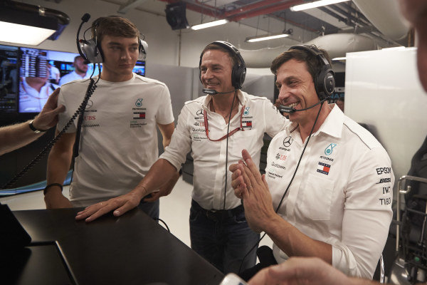 George Russell, Mercedes AMG F1, and Toto Wolff, Executive Director (Business), Mercedes AMG