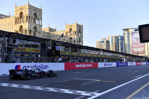 Theo Pourchaire (FRA, ART Grand Prix), passes the chequered flag