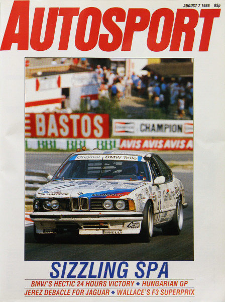 Cover of Autosport magazine, 7th August 1986