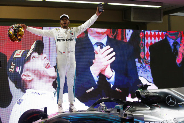 Lewis Hamilton, Mercedes AMG F1 W09 EQ Power+, celebrates after winning the race