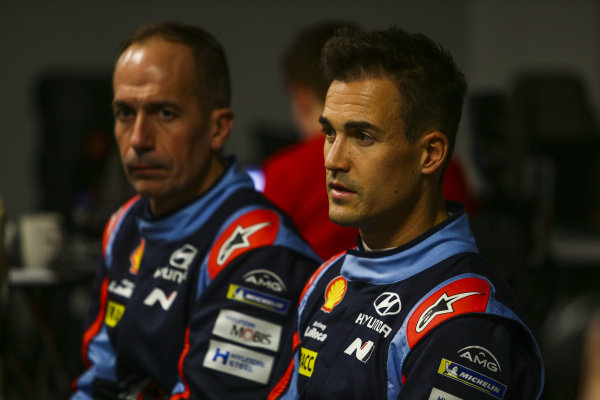 Dani Sordo speaks to the media.