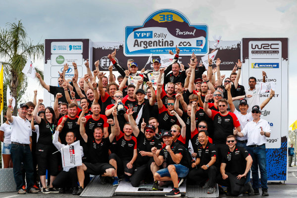 Ott Tanak and Martin Jarveoja celebrate victory on Rally Argentina with the Toyota team