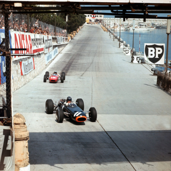 Monte Carlo, Monaco. 19-22 May 1966.Graham Hill (BRM P261) leads Lorenzo Bandini (Ferrari 158/246). They finished in 3rd and 2nd positions respectively.Ref-3/2103.World Copyright - LAT Photographic