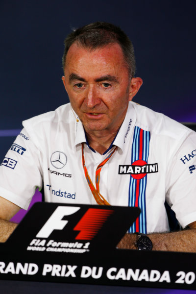Circuit Gilles Villeneuve, Montreal, Canada. Friday 09 June 2017. Paddy Lowe, Chief Technical Officer, Williams Martini Racing Formula 1, in the Team Principals Press Conference. World Copyright: Andy Hone/LAT Images ref: Digital Image _ONZ0690