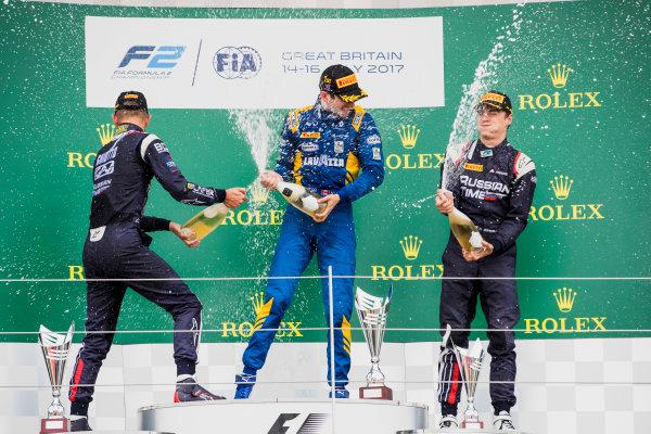 2017 FIA Formula 2 Round 6. Silverstone, Northamptonshire, UK. Sunday 16 July 2017. Luca Ghiotto (ITA, RUSSIAN TIME), Nicholas Latifi (CAN, DAMS), Artem Markelov (RUS, RUSSIAN TIME).  Photo: Zak Mauger/FIA Formula 2. ref: Digital Image _56I0784